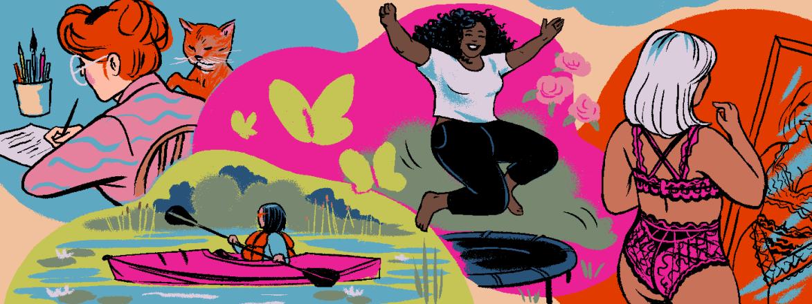 illustration, women, selfcare, reading, canoeing, jumping, lingerie