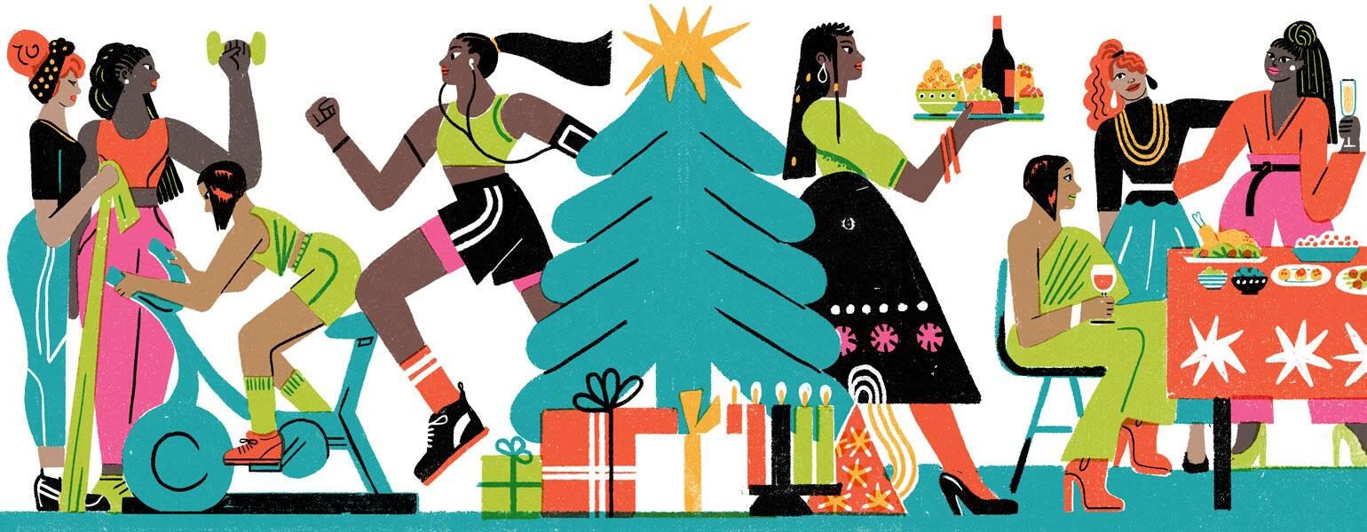 illustration of ladies exercising to avoid holiday weight gain by irene rinaldi