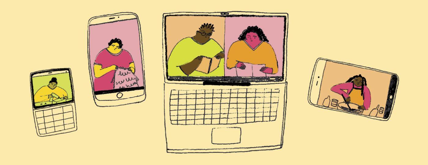 illustration,Black women, online, groups