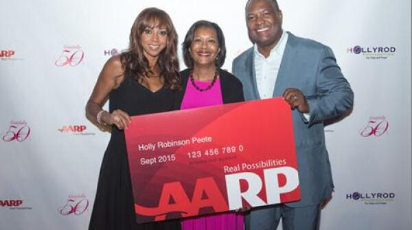 Holly Robinson Peete with AARP Card