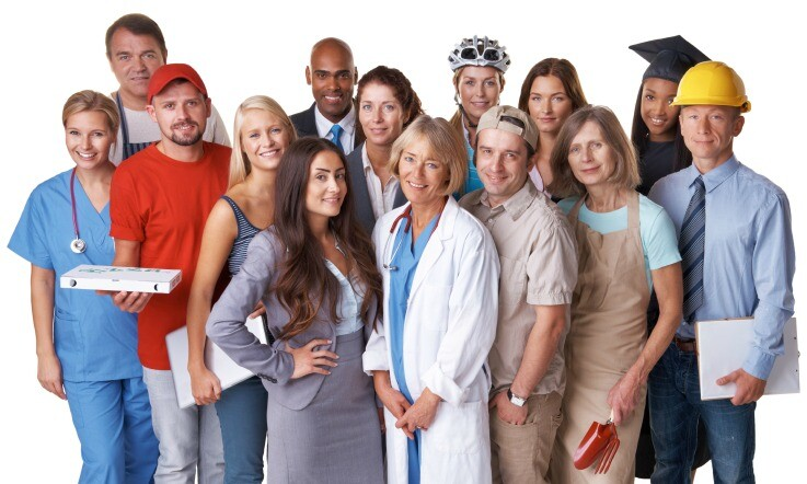 A full length studio shot of a diverse group of adults from various occupations