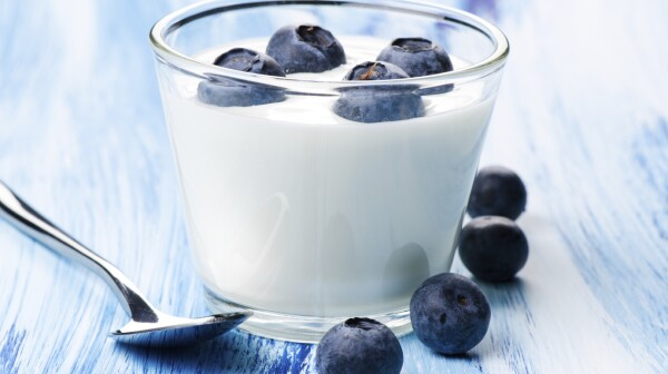 Blueberry yogurt in a glass