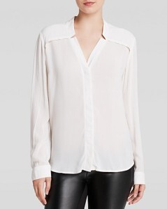 Draped white blouse