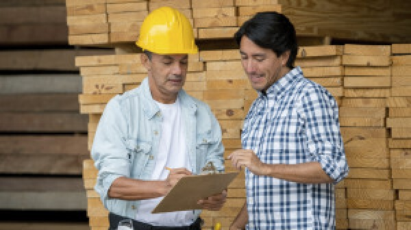Carpenter with a client