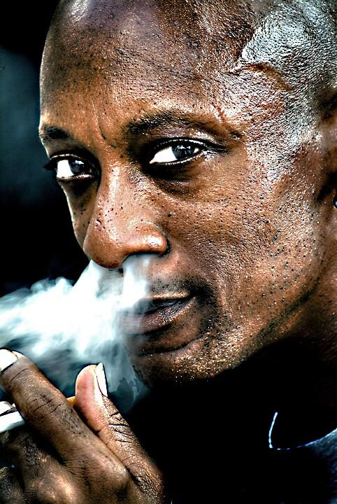 Face Closeup African American Smoker