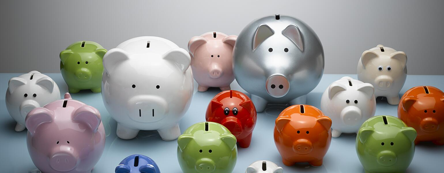 A photo of several piggy banks of various sizes.