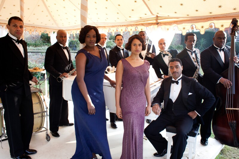 Band members with Carla (Wunmi Mosaku), Jessie (Angel Coulby) and Louis Lester (Chiwetel Ejiofor)