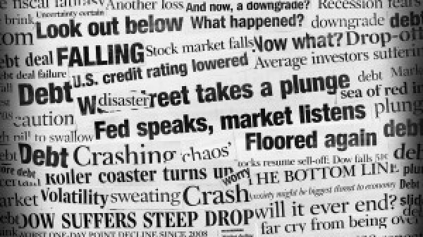 Stock market plunge word cloud