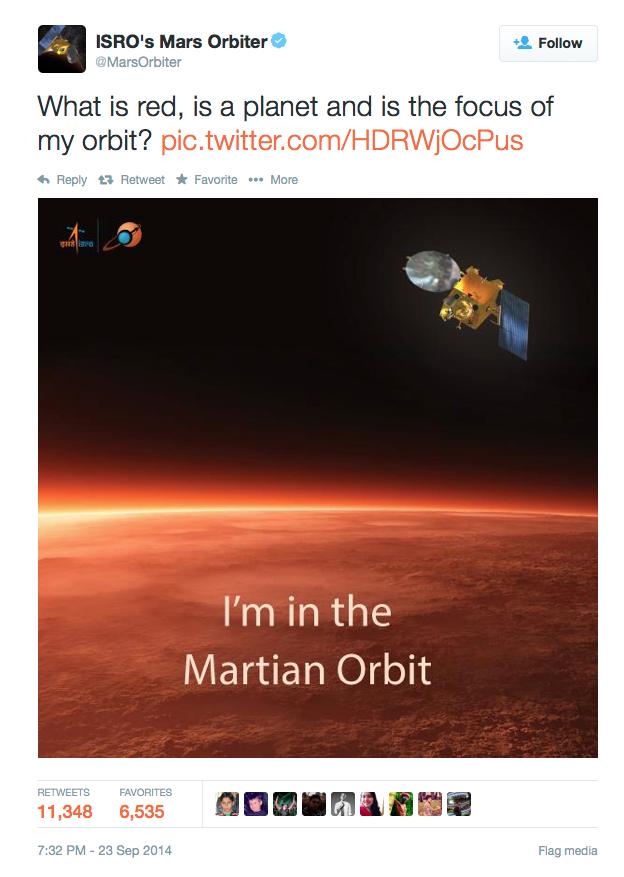 India - Mars satellite - Tweet