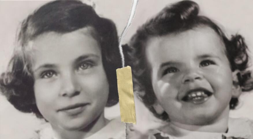 Black and white image of two young sisters ripped and taped back together