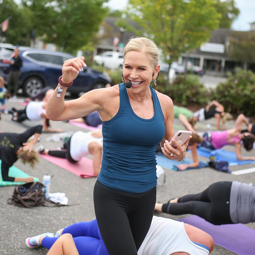 Chris Freytag leads an outdoor fitness class