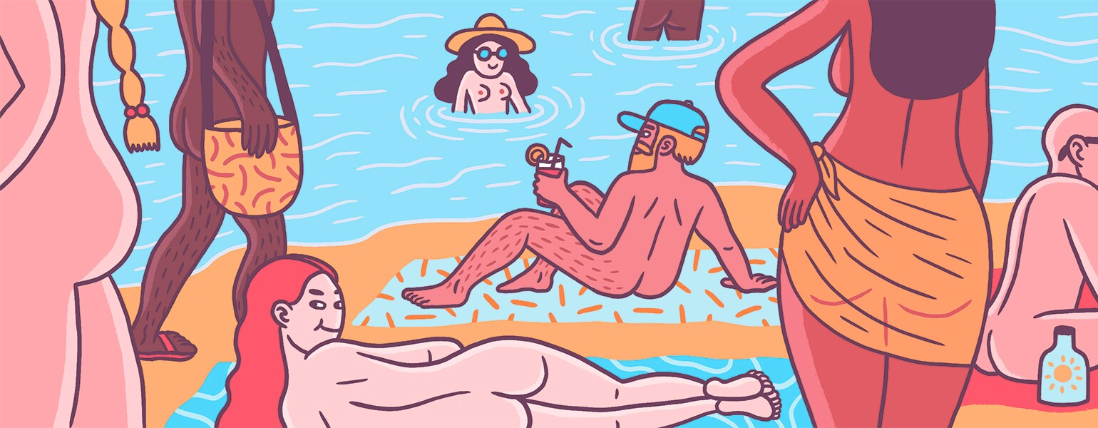 An illustration of several people at the beach on a naked vacation.