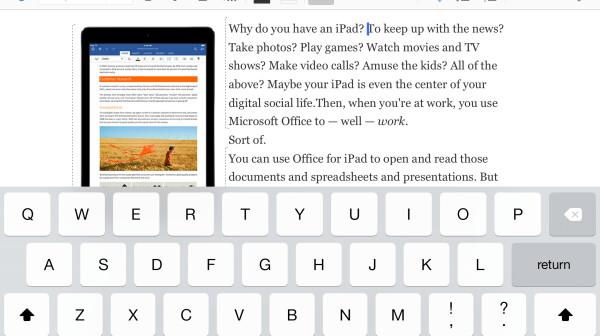 Screenshot of Microsoft Word for iPad