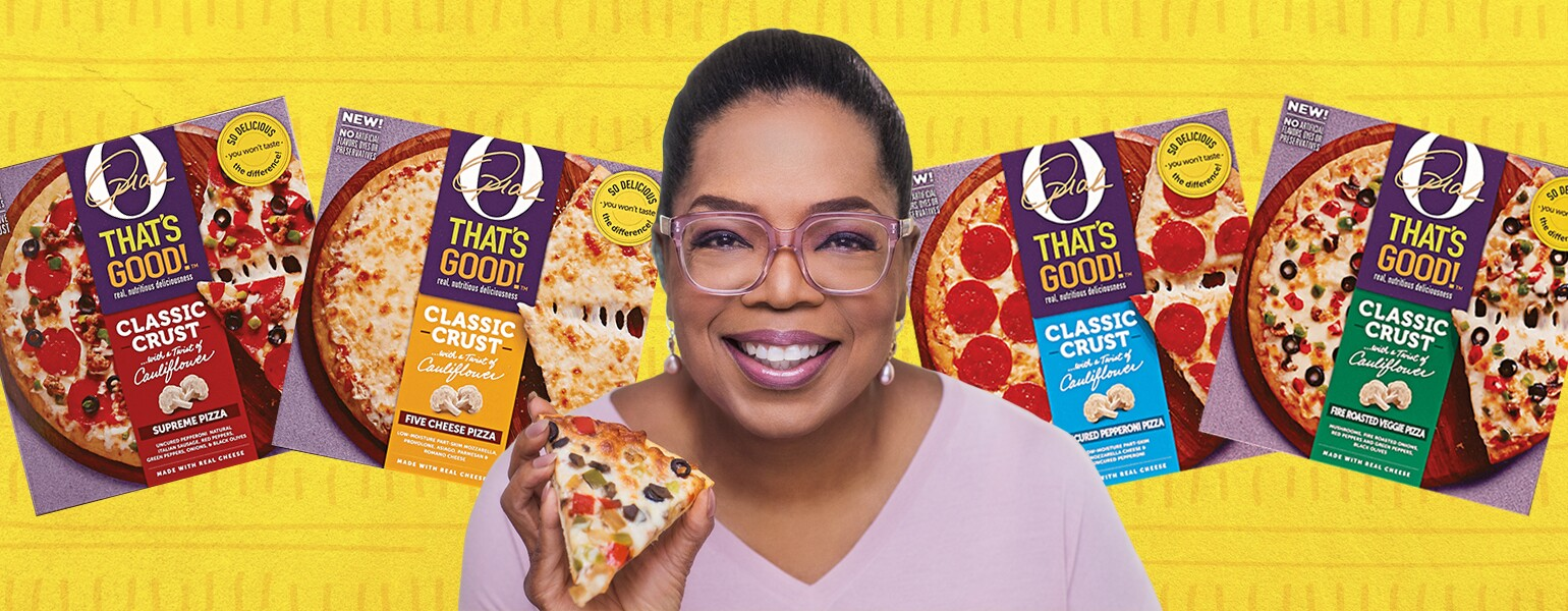 photo collage of oprah and her pizza line