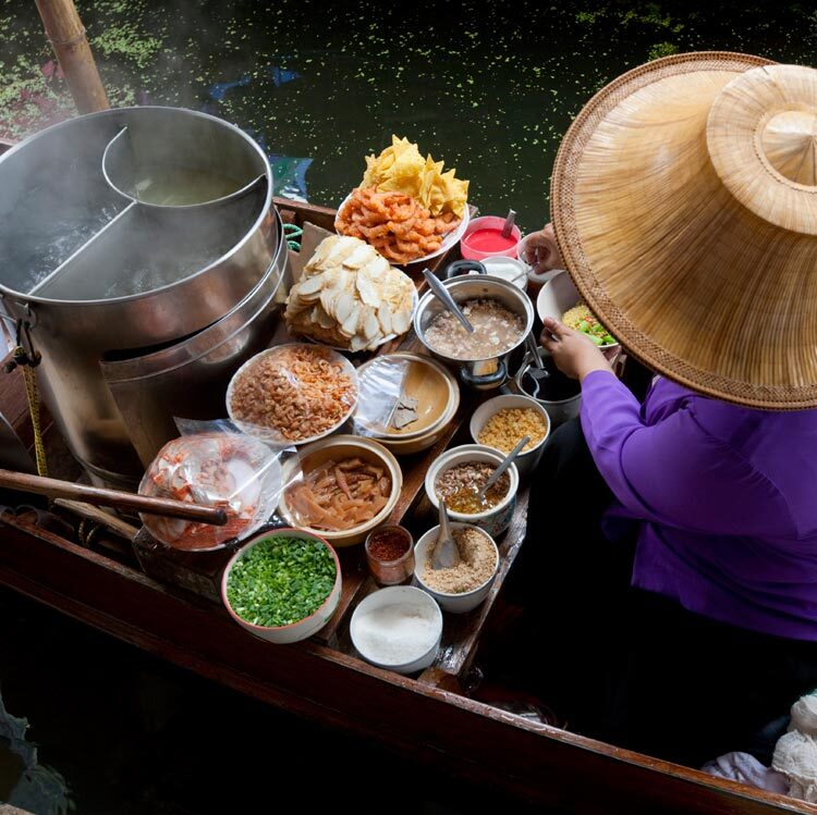 Thai Food Vendor Floating Market