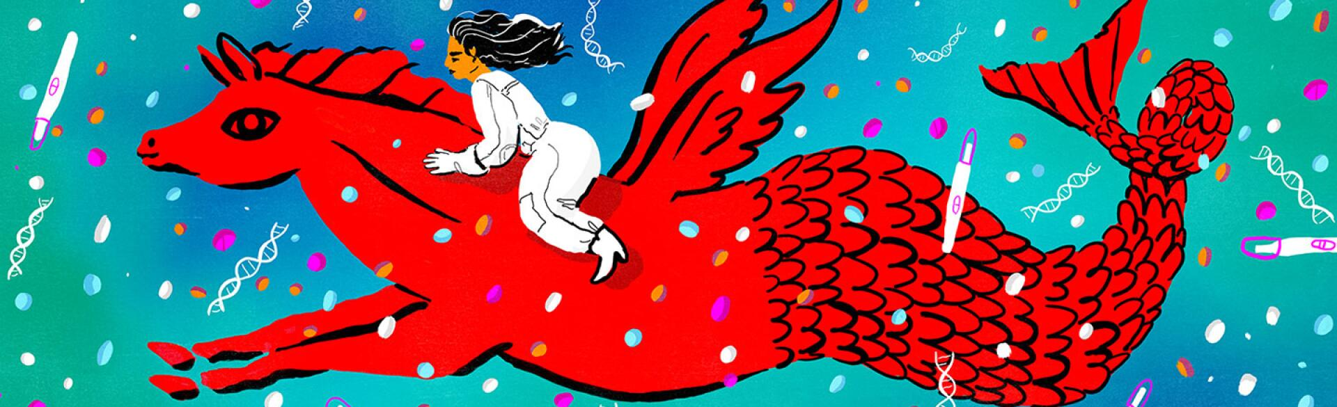 illustration of a woman riding on a mythical creature surrounded by pregnancy tests and dna