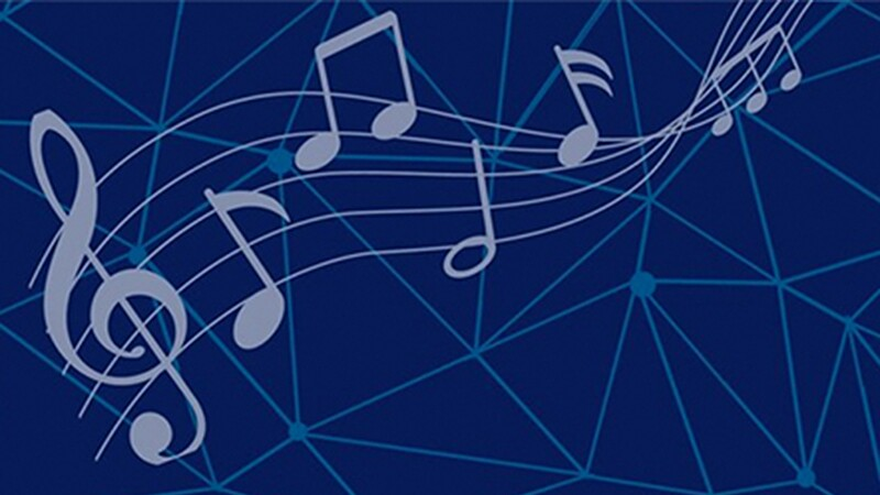 Various music notes on a blue background