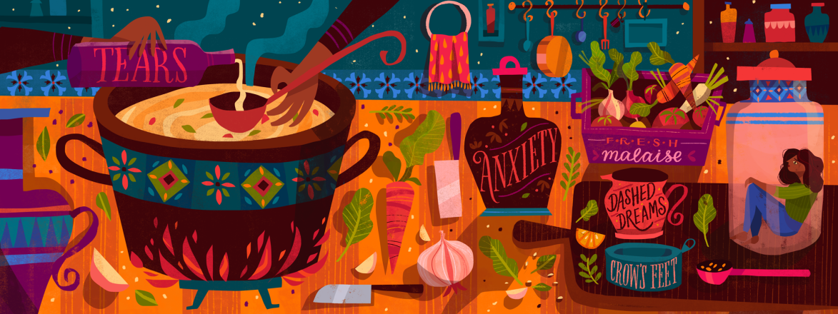 illustration of lady cooking a midlife crisis recipe