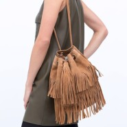 Zara Fringed Bucket Bag