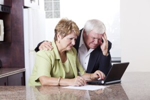 Older couple worrying about their money situation