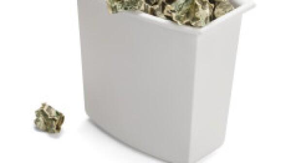 Money in waste basket