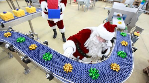 Santa at production line, working