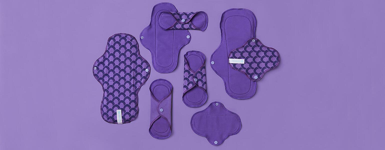 array of purple pads on purple background