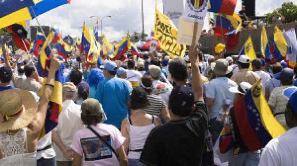 iStock_Protesters against Venezuelan government in a multitudinous parade