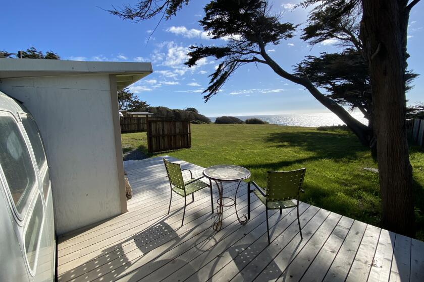 """Airstream dubbed """"The Cape,"""" in Silver Cypress Resort on the bluff overlooking Nesika Beach, OR"""