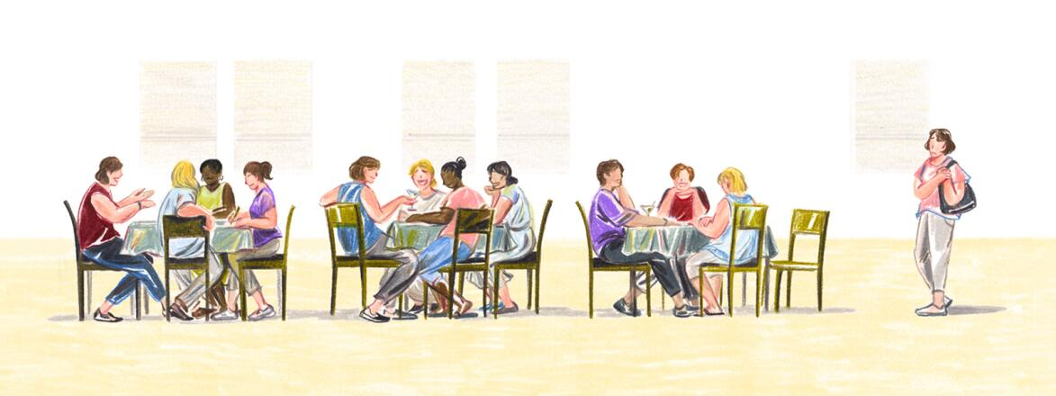 illustration of women sitting at tables and one woman standing to the side by herself