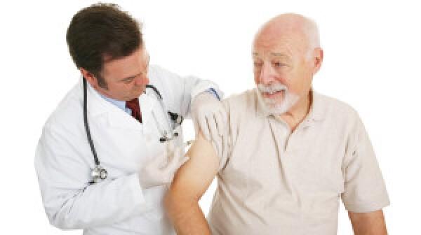 Man getting vaccine shot
