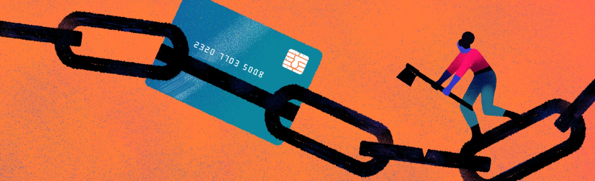 illustration of lady cutting off credit card debt by chiara ghigliazza