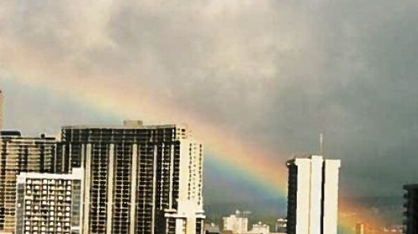Rainbow over Honolulu.