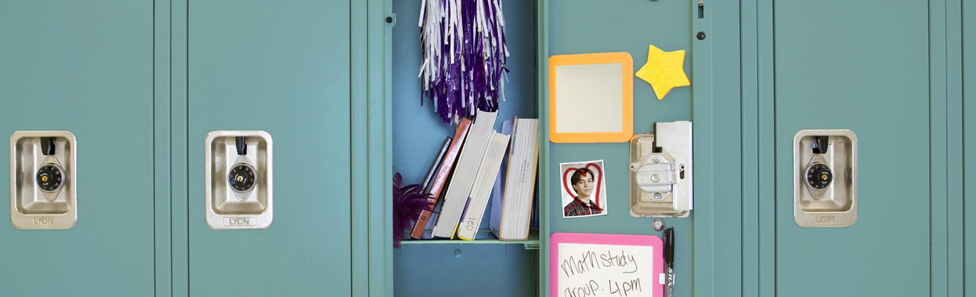 An image of an open high school locker.