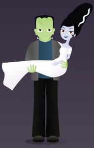 Frankenstein's monster with bride cartoon
