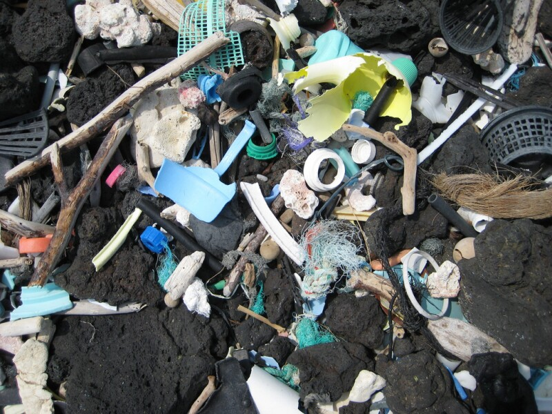 Garbage on beach - mostly plastic - from ocean