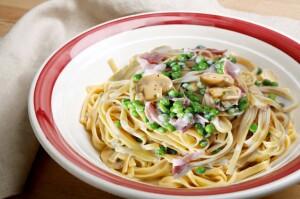 mushroom fettucini with an alfredo sauce in a pasta bowl