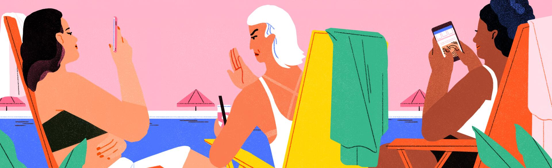 illustration of women sitting at the beach one lady ranting the others on their phones