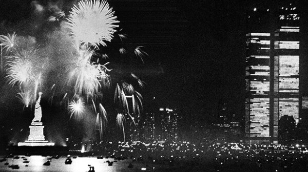 Bicentennial Fireworks - New York City - Statue of Liberty - World Trade Center