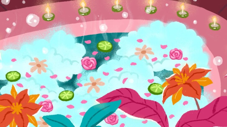 illustration_of_bubble_bath_with_flowers_and_leaves_by_charlot_kristensen_612x386