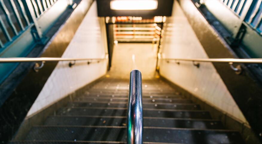 Stairs to New York Subway station