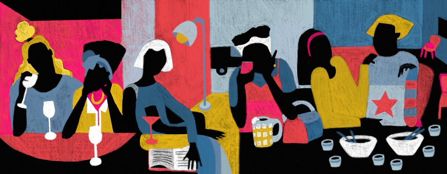 illustration of ladies drinking by diana ejaita