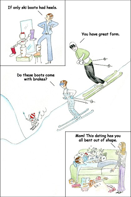 Comic strip of a woman on her 40s.