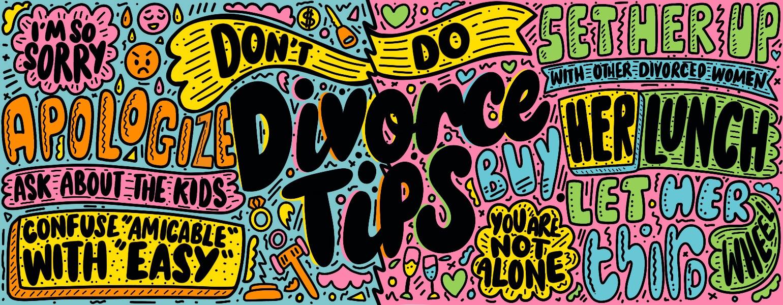 hand lettered divorce tips