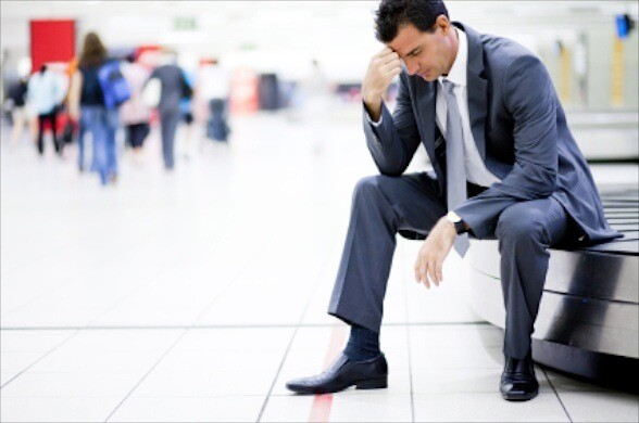 businessman lost his luggage at airport