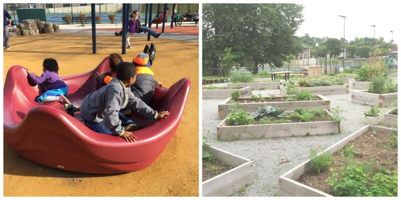 Collage of kids at a park and a community garden