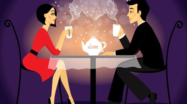 Dating couple scene, love confession