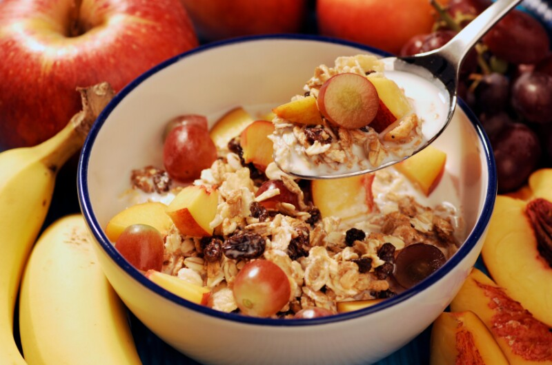 Bowl of breakfast cereal with fruit iStock_000004087686Small