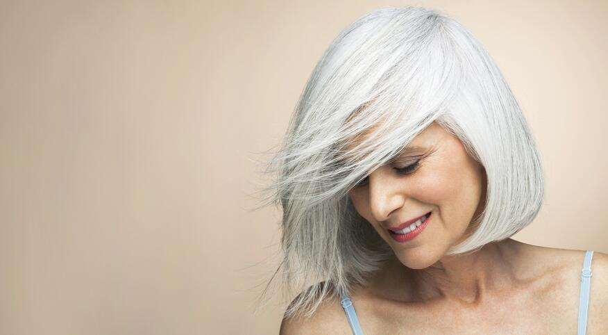 Woman with a silver grey hair
