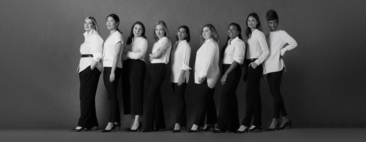 black and white photo of different women in MM LaFleur pants